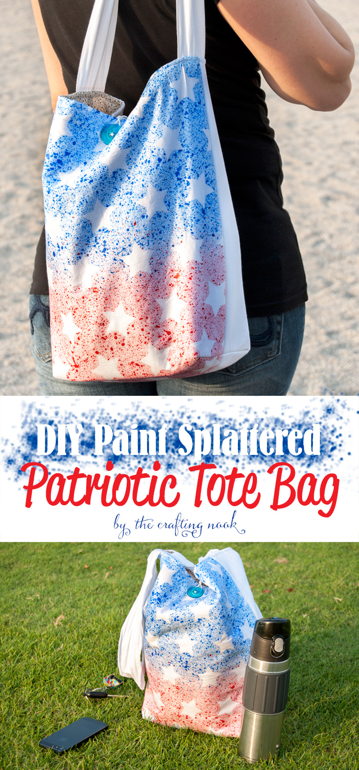 DIY Paint Splattered Patriotic Tote Bag Tutorial