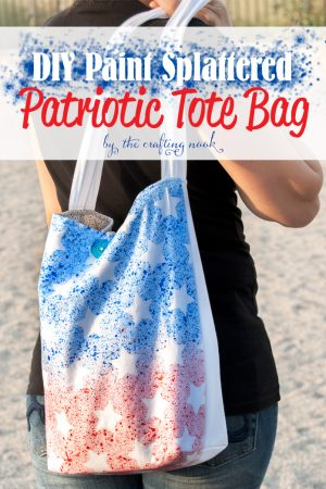 DIY Paint Splattered Patriotic Tote Bag
