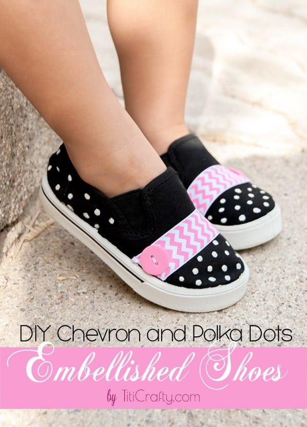 DIY Chevron and Polka Dots Embellished Shoes tutorial