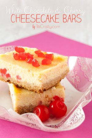 White Chocolate Cherry Cheesecake Bars