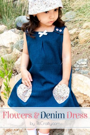 Flower & Denim Dress for Little Girls Tutorial #denimdress #dresstutorial