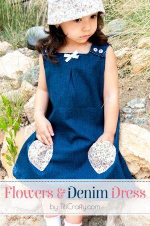 Flowers & Denim Dress for Little Girls