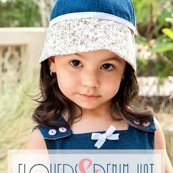 Flowers & Denim Hat for Little Girls Tutorial #sewingtutorial #denimhat