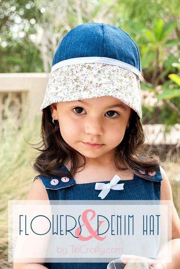 Flowers & Denim Hat for Little Girls #Tutorial #sewingtutorial #denimhat