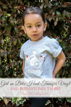Girl on Bike Heat Transfer Vinyl and Rhinestones T-Shirt Tutorial