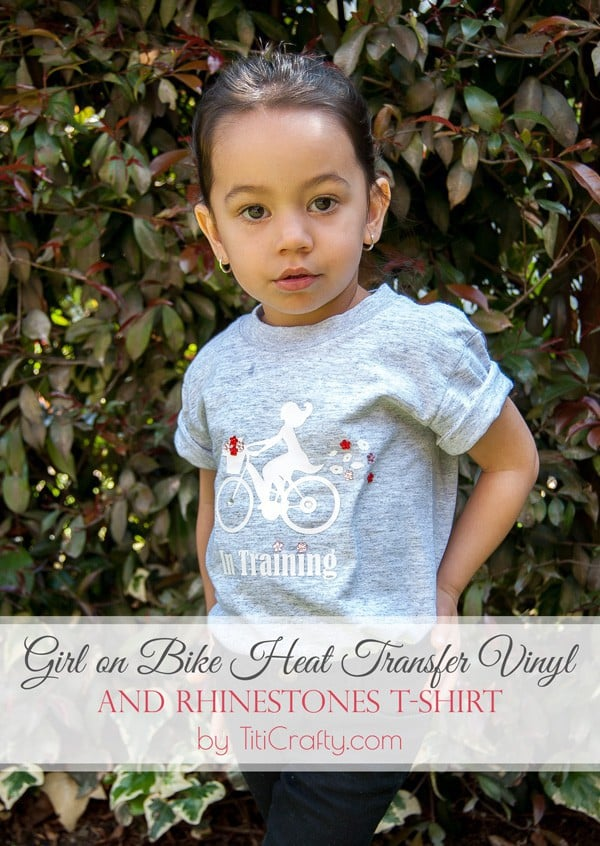 DIY Girl on Bike Heat Transfer Vinyl and Rhinestones T-Shirt Tutorial #silhouetteproject #silhouettecameo #heattransfervinyl