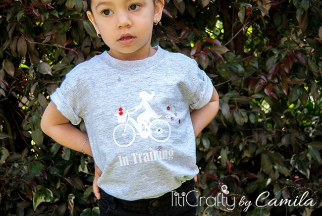 Girl on Bike Heat Transfer Vinyl and Rhinestones T-Shirt Tutorial, an easy DIY tutorial on how to make your own customizable graphic t-shirt!