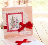Flowery Pink and Red Christmas Card