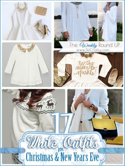17 White Outfits for Christmas and New Years Eve. The Weekly Round Up #Christmasoutfit #newyearsoutfit #whiteoutfits