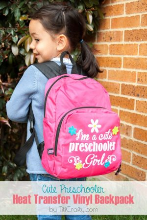 Cute Preschooler Heat Transfer Vinyl Backpack
