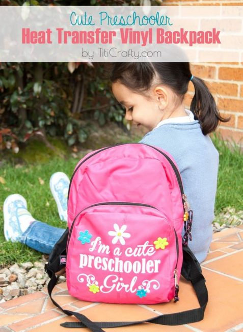 Easy Preschooler Heat Transfer Vinyl Backpack #Tutorial #silhouetteproject #heattransfervinyl
