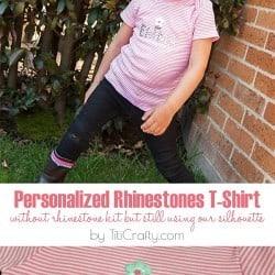 Personalized Rhinestone T-Shirt #Tutorial #rhinestonesproject #silhouetteproject