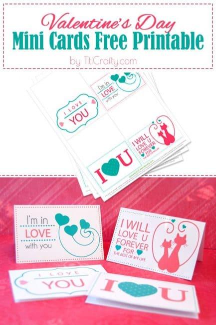 Valentine's Day Mini Cards Free Printable #freeprintable #valentinesdayfreeprintable #valentinesday