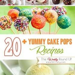 20+ Yummy Cake Pops #Recipes. The Weekly Round Up! #cakepopsrecipes #treatsrecipe #cakepops