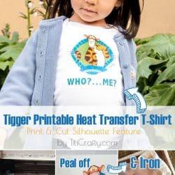 Tigger Printable Heat Transfer T-Shirt Tutorial #printandcut #silhouettechallenge #pintableheattransfermaterial
