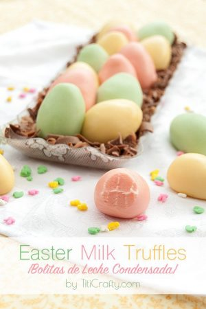 Easter Milk Truffles {Bolitas de Leche Condensada} #easterrecipe #eastereggs #milktruffles #bolitasdelechecondensada