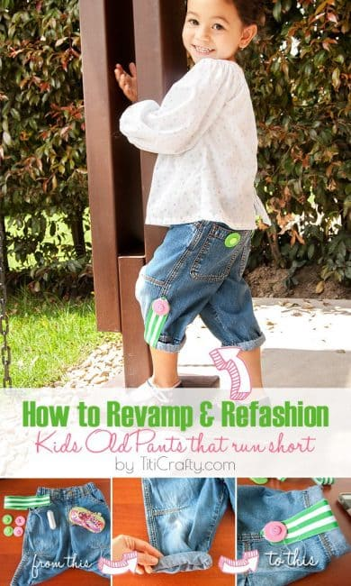 How to Revamp and Refashion Kids Old Pants that Run Short #tutorial #closherefashion #kidsclotherefashion