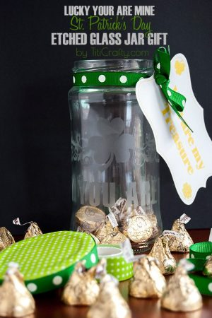 St. Patrick's Day Etched Glass Jar Gift