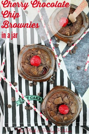 Cherry Chocolate Chip Brownies in a Jar
