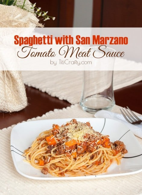 Spaghetti with San Marzano Tomato Meat Sauce #Recipe #Mothersdaylunch #barillapasta #barilla
