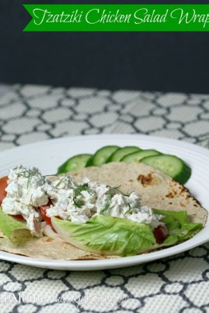 Tzatziki Chicken Salad Wrap | LeMoine Family Kitchen. Healthy and incredibly flavorful chicken salad with a Greek twist. Homemade tzatziki sauce adds amazing flavor!