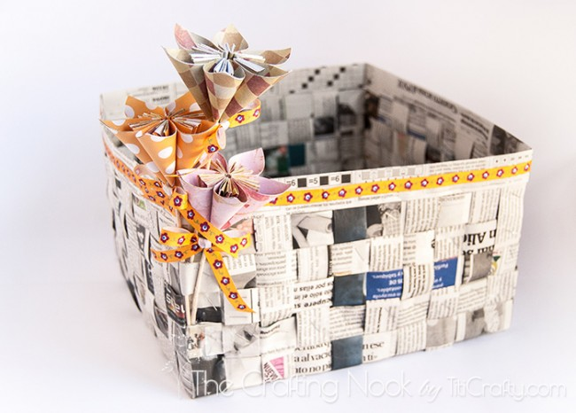 How To Make A Newspaper Basket With Top : Diy newspaper basket the crafting nook by titicrafty