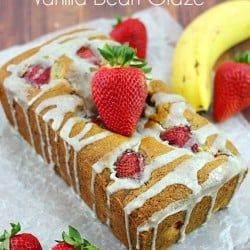 Strawberry Banana Bread with Vanilla Bean Glaze #bananabread #bananabreadrecipe #yummyrecipe ~ The Plaid & Paisley Kitchen ~ www.pandpkitchen.com
