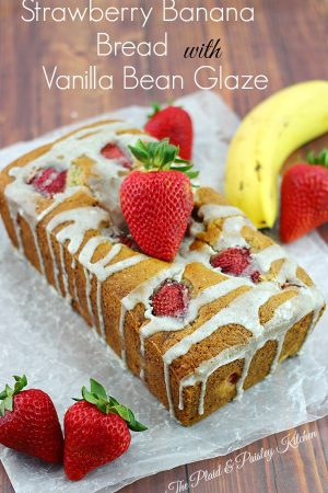 Strawberry Banana Bread with Vanilla Bean Glaze
