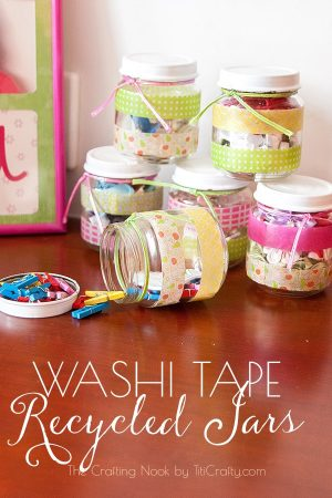 Washi Tape Recycled Jars