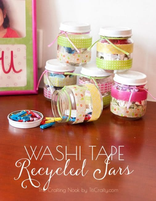 Washi Tape Recycled Jars tutorial #washitapecraft #washitapeproject #recycledcraft