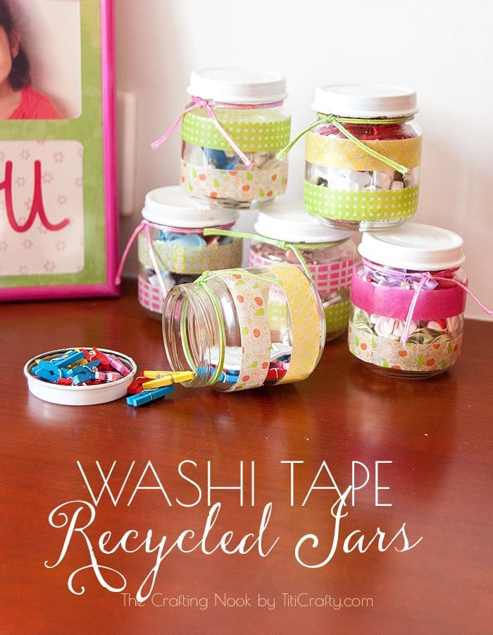 Washi Tape Recycled Jars tutorial #washitapecraft #washitapeproject #recycledcraft