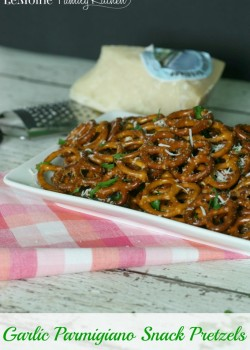 Garlic Parmigiano Snack Pretzels | LeMoine Family Kitchen. A really simple and flavorful way to jazz up snack pretzels. These are party perfect!