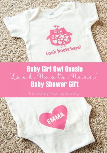 Baby Girl Owl Onesie Baby Shower Gift #babyshowerideas #owlonesie #onesiedecoration #silhouetteprojects