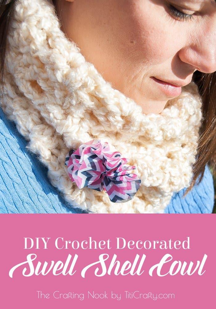 DIY Decorated Swell Shell Crochet Cowl #ScarfWeek2015 #Crochetpattern #diyscarfideas