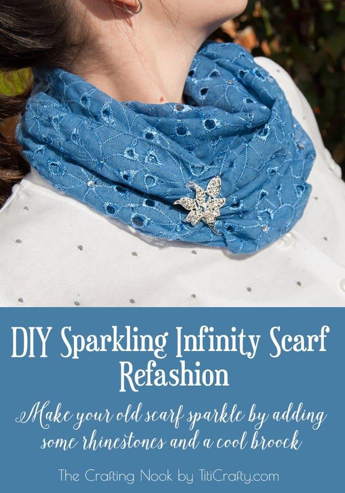 DIY Sparkling Infinity Scarf Refashion Tutorial #ScarfWeek2015 #scarfrefashion #diyscarfideas