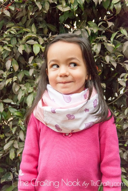 Kids Infinity Scarf. Made with Fabric Scraps and Hand Drawn Heart Doodles Tutorial #ScarfWeek2015 #infinityscarf #kidsscarf