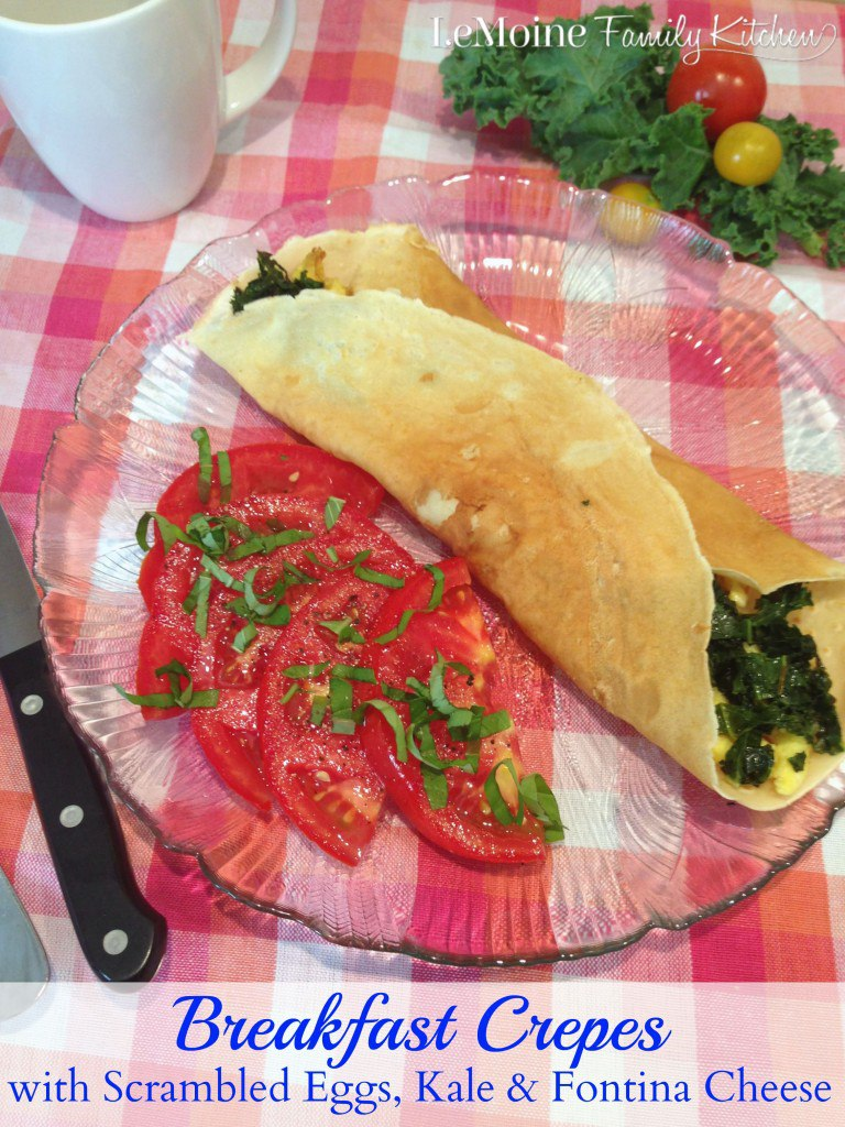 Breakfast Crepes with Scrambled Eggs, Kale & Fontina Cheese | LeMoine Family Kitchen . Incredible dish perfecto for breakfast or brunch. Light crepe stuffed with sautéed kale, melted fontina cheese and some simple scrambled eggs. Perfect way to start your day.