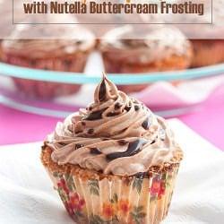 Chocolate Chips Orange Cupcakes with Nutella Buttercream Frosting #cupcakerecipe #orangecupcake #nutellalover