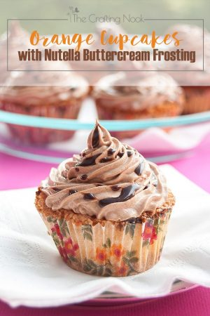 Chocolate Chips Orange Cupcakes with Nutella Buttercream Frosting