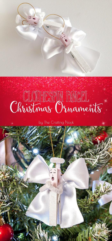 DIY Clothespin Angel Christmas Ornaments Tutorial #handmadechristmas #christmasornaments #decoratethetree