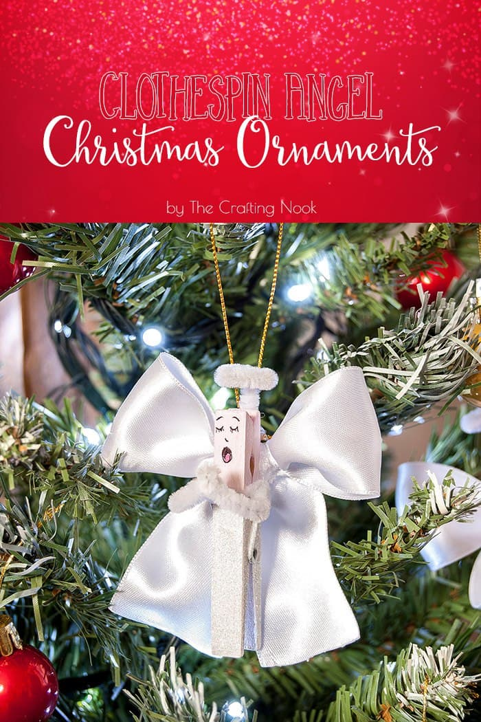 Clothespin Angel Christmas Ornaments Tutorial #handmadechristmas #christmasornaments #decoratethetree