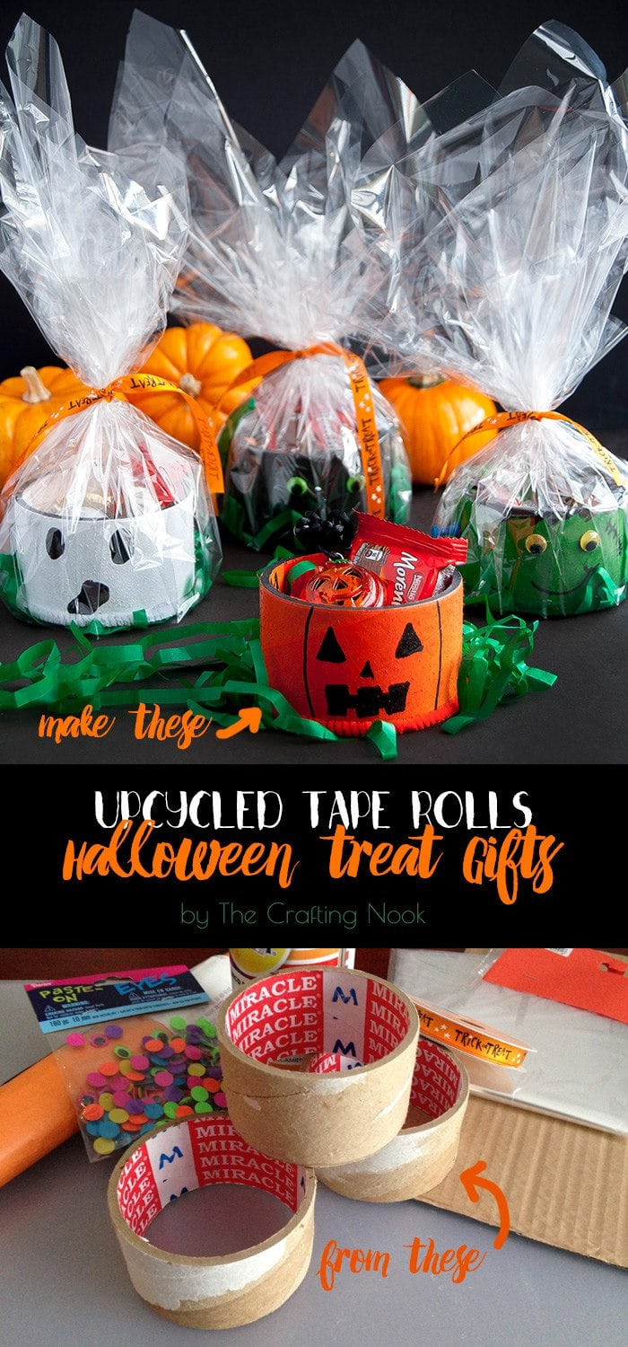 Upcycled Tape Rolls Halloween Gifts Tutorial #hallween #hallweencrafts #hallweentreat