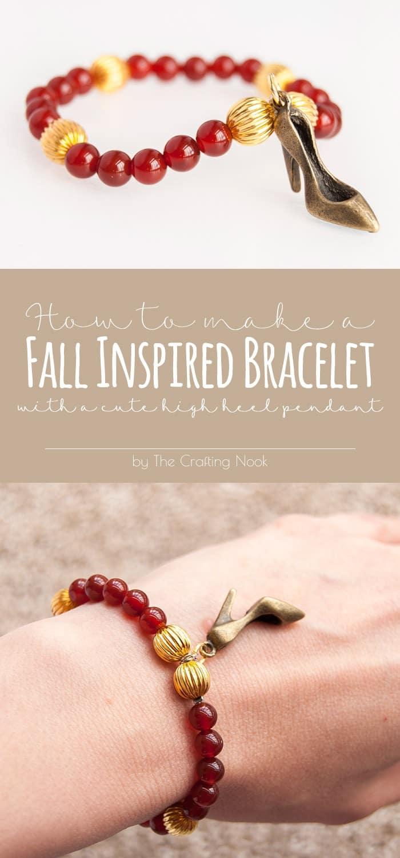 High Heel Fall Bead Bracelet #fallcraft #fallbracelet #craftyjewelry