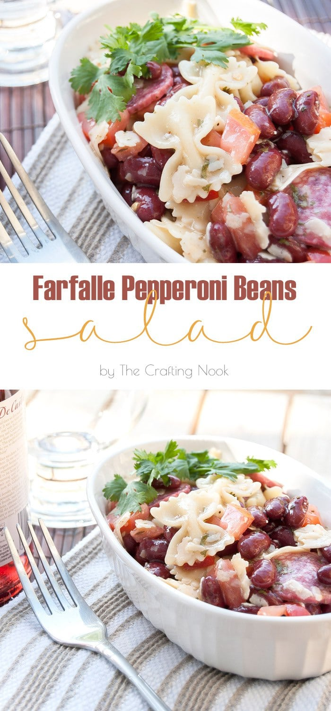 Farfalle Pepperoni Beans Salad #saladrecipe #pastasalad #beanssalad