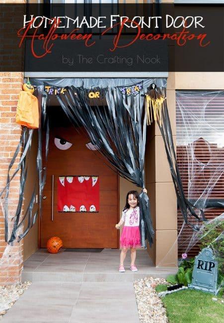 Homemade Front Door Halloween Decoration Tutorial #halloweendecoration #frontdoordecoration #halloweenfrontdoor