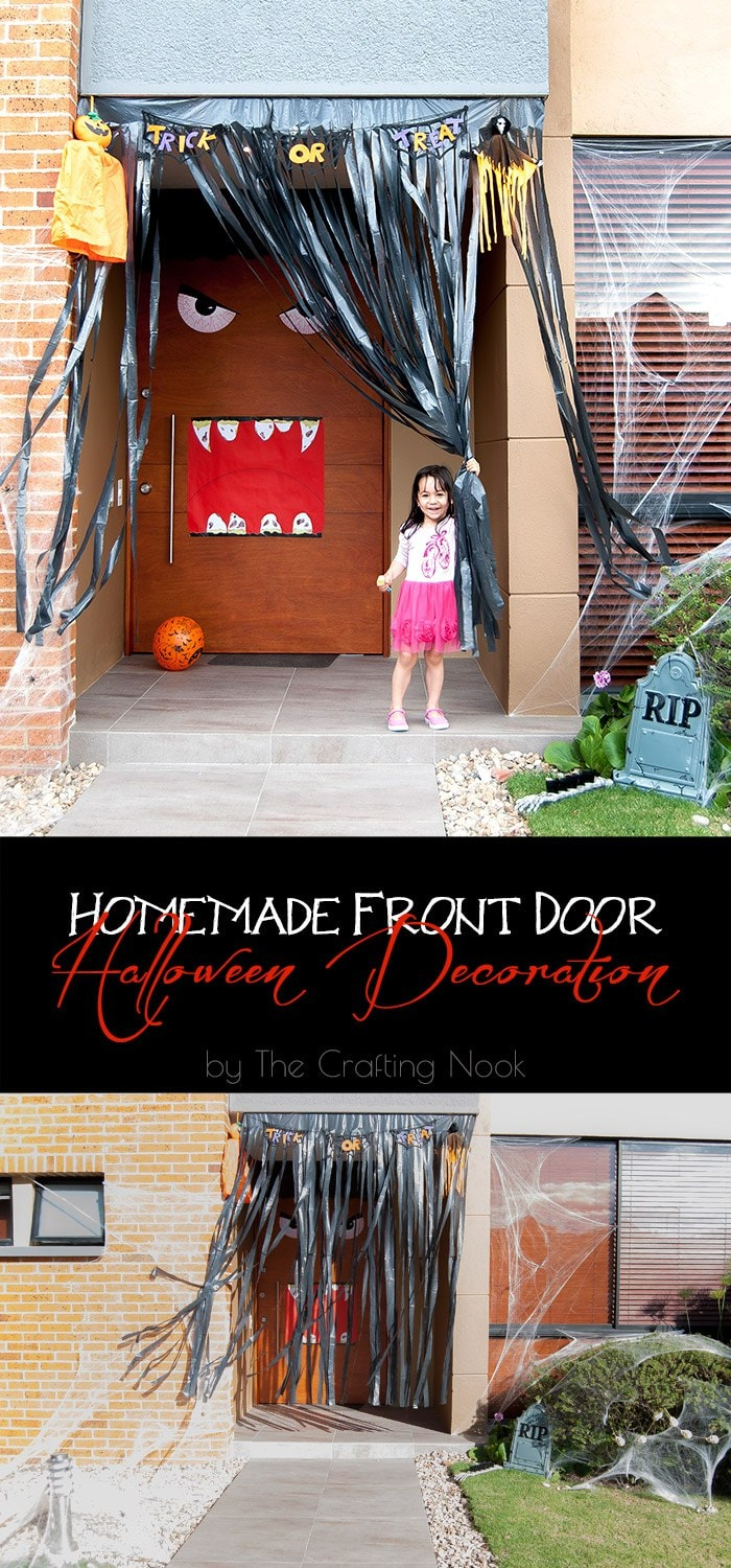 Homemade Front Door Halloween Decoration #halloweendecoration #frontdoordecoration #halloweenfrontdoor