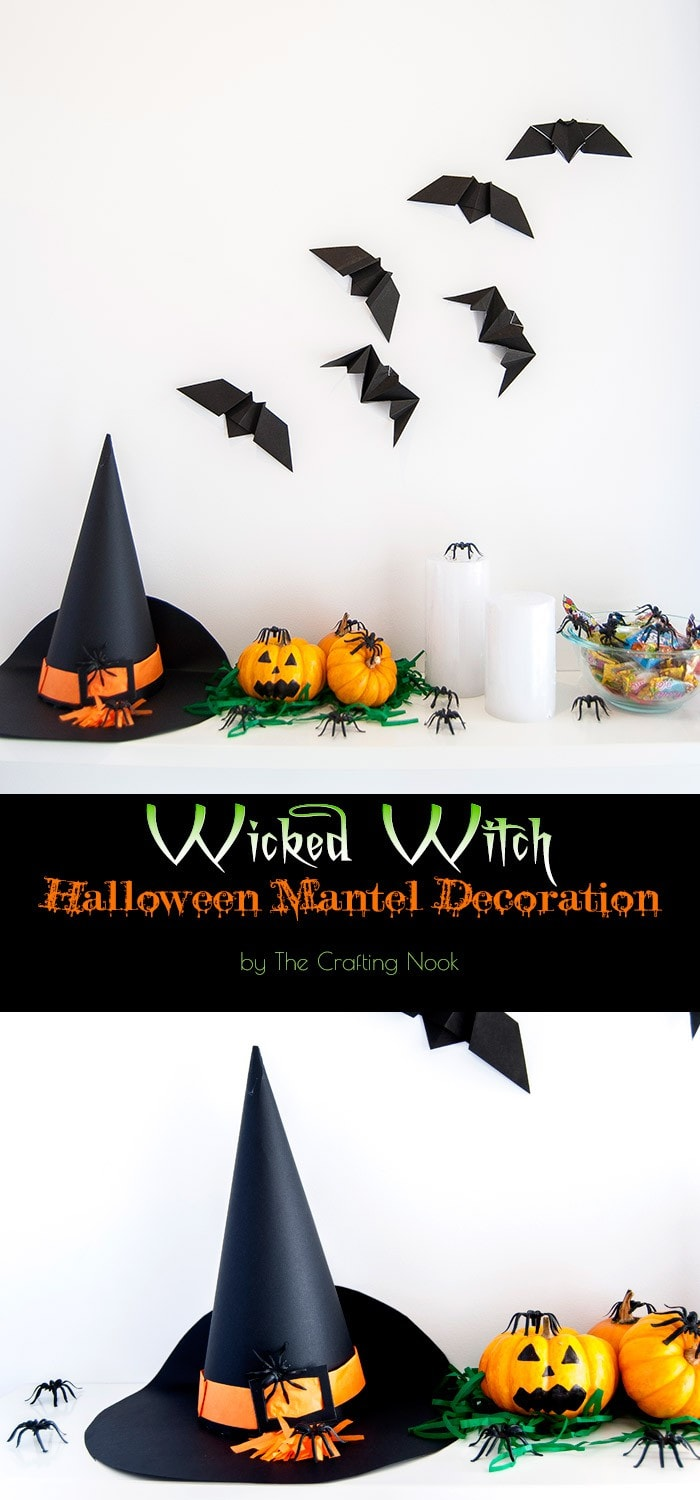 Wicked Witch Halloween Mantel Decoration #halloweenmantel #halloweendecorations Tutorial #halloweenhomedecor