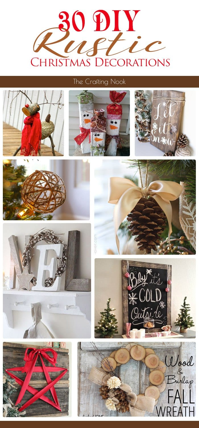 30 diy rustic christmas decorations the crafting nook by titicrafty. Black Bedroom Furniture Sets. Home Design Ideas