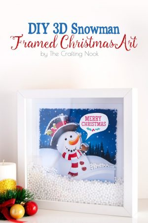 Fun DIY 3D Snowman Framed Christmas Art #Christmas #Christmasdecorations #Christmasart