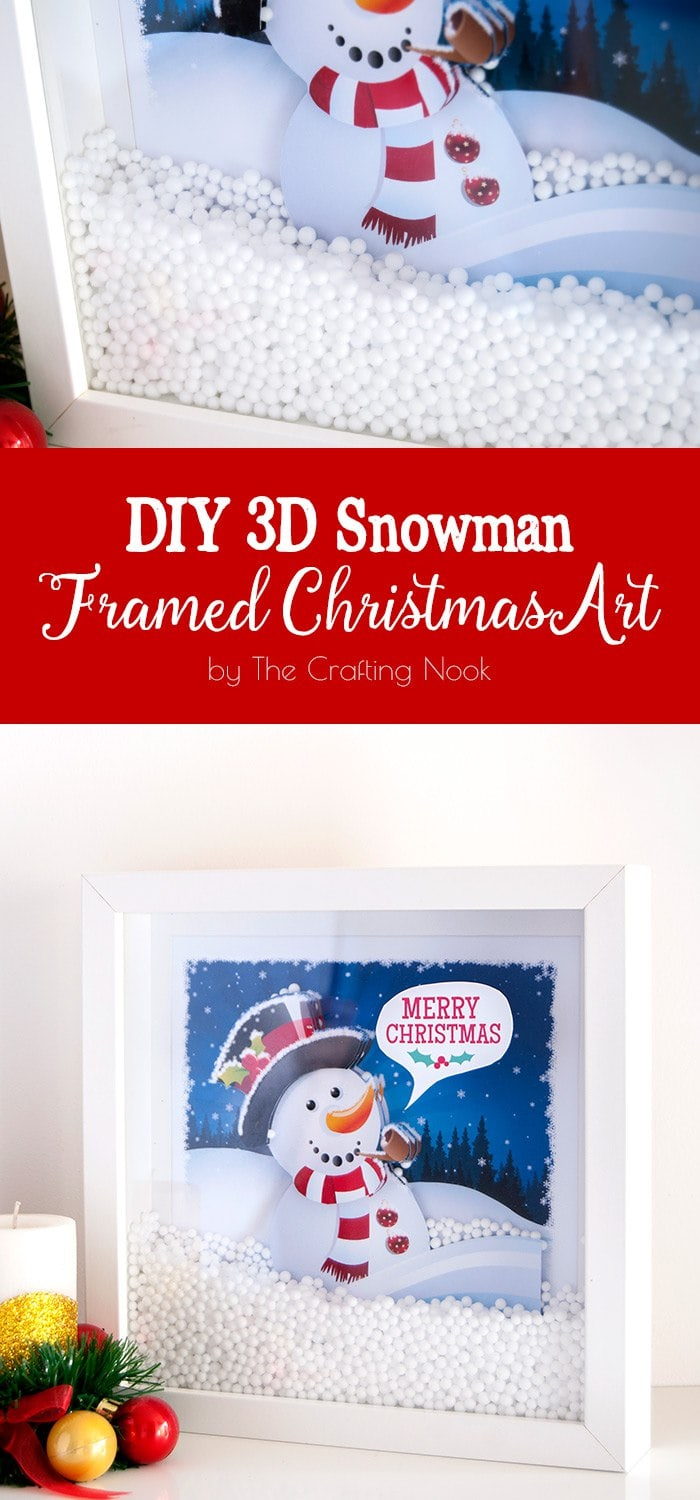 DIY 3D Snowman Framed Christmas Art #Christmas #Christmasdecorations #Christmasart